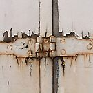 Rusty hinge on a gate in Narbonne, France by Katherine Clarke