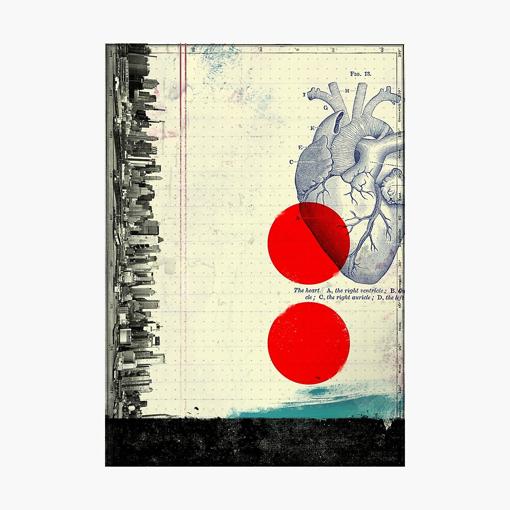 Heart 01 - Modern Abstract Collage Photographic Print