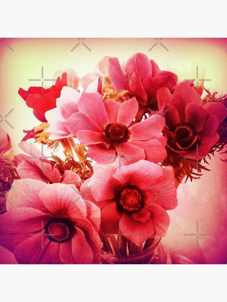 Pink Velvet Floral Art - Pink Flower Design  by OneDayArt
