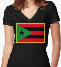 Afro Puerto Rican Flag Women's Fitted V-Neck T-Shirt