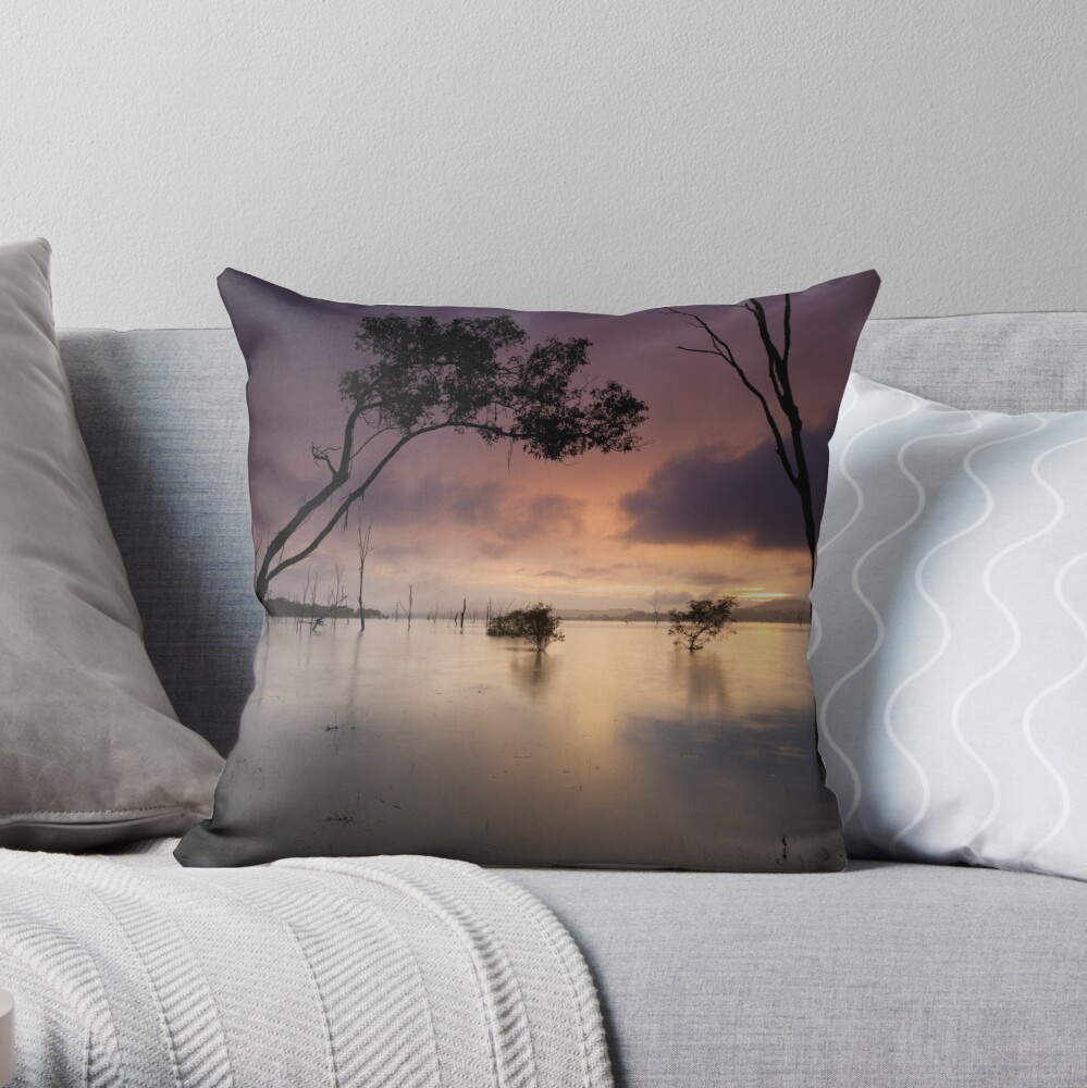 Flooded valley Throw Pillow