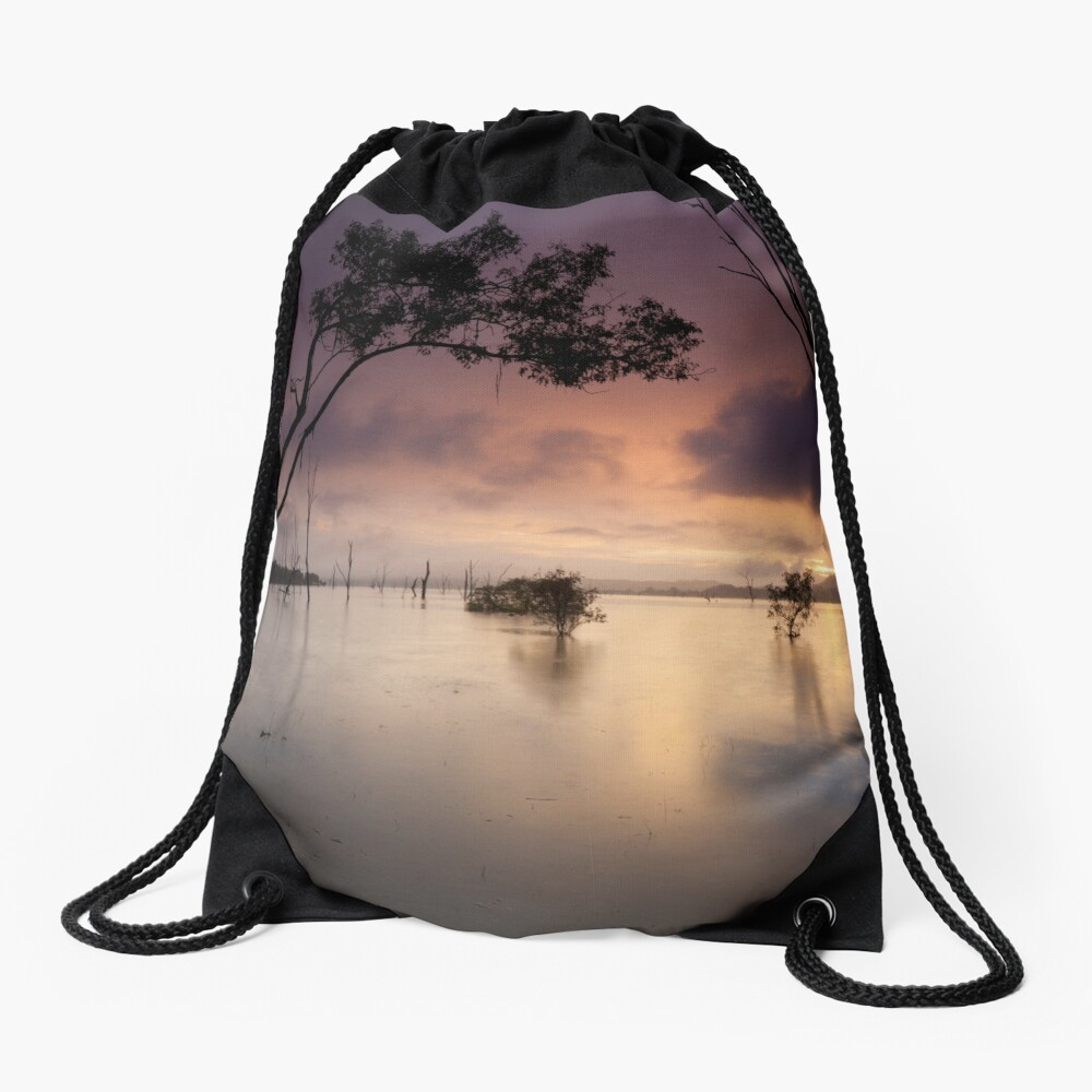 Flooded valley Drawstring Bag