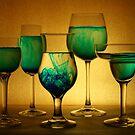 Still Life  Six - blue on orange by Robyn Selem