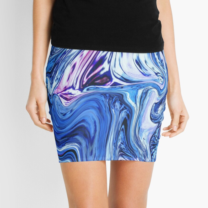 Ocean Swirls - Blue Planet Abstract Modern Art Mini Skirt