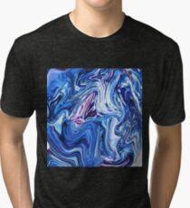 Ocean Swirls - Blue Planet Abstract Modern Art Tri-blend T-Shirt