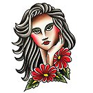 Traditional Long Hair Lady Tattoo Design by FOREVER TRUE TATTOO