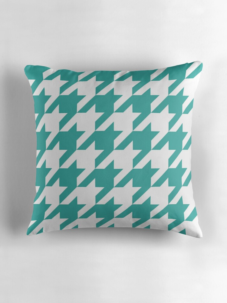 Large Teal Throw Pillow : Teal Large Houndstooth Throw Pillows by ImageNugget Redbubble