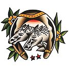 Traditional Horseshoe Horses Tattoo Design by FOREVER TRUE TATTOO