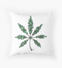 Marijuana Leaf Made of Mushrooms (green version) Throw Pillow