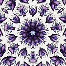 Abstract Flower Kaleidoscopic Pattern In Blue Violet by Boriana Giormova
