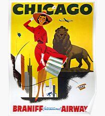 Chicago Vintage Travel Poster Restored Poster