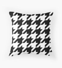 Black Large Houndstooth Throw Pillow