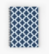 Navy Blue Moroccan Quatrefoil Pattern Spiral Notebook