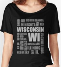 State Design - USA Wisconsin Women's Relaxed Fit T-Shirt
