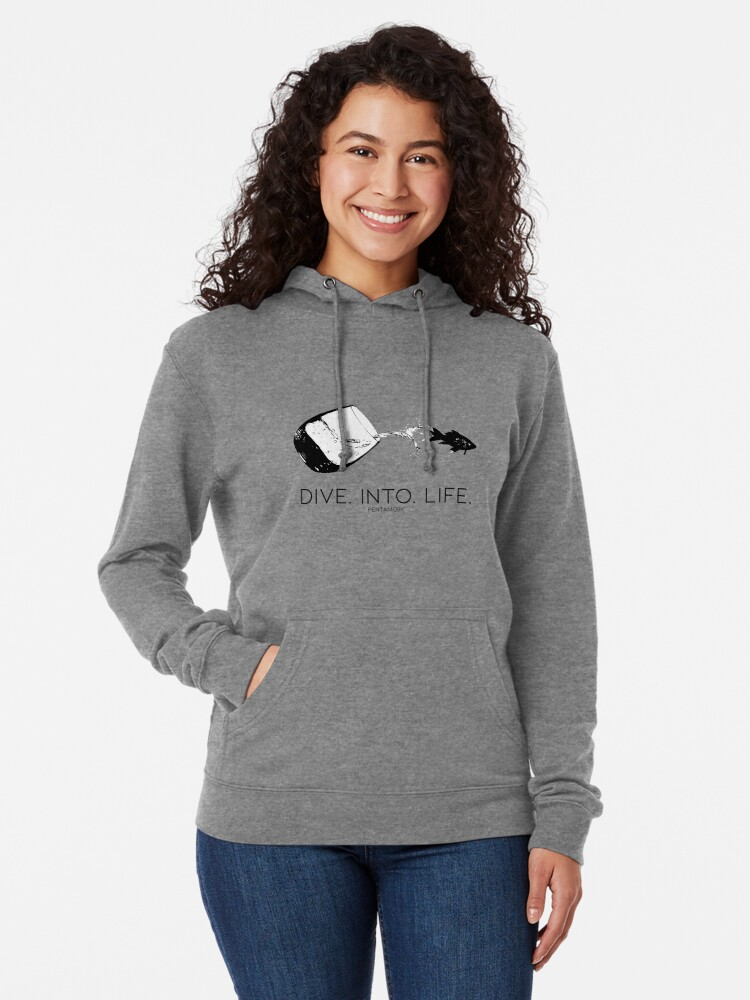 Alternate view of DIVE. INTO. LIFE. (B) Lightweight Hoodie