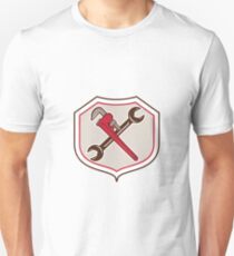 Pipe Wrench Spanner Crossed Shield Cartoon Unisex T-Shirt
