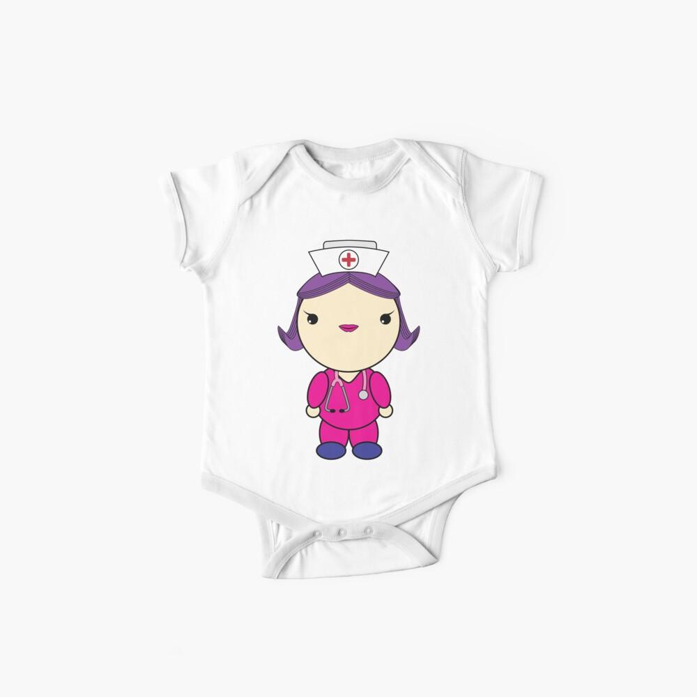 Nettes Kawaii Art-Krankenschwester-weißes purpurrotes Haar-Rosa scheuert sich Baby Bodys