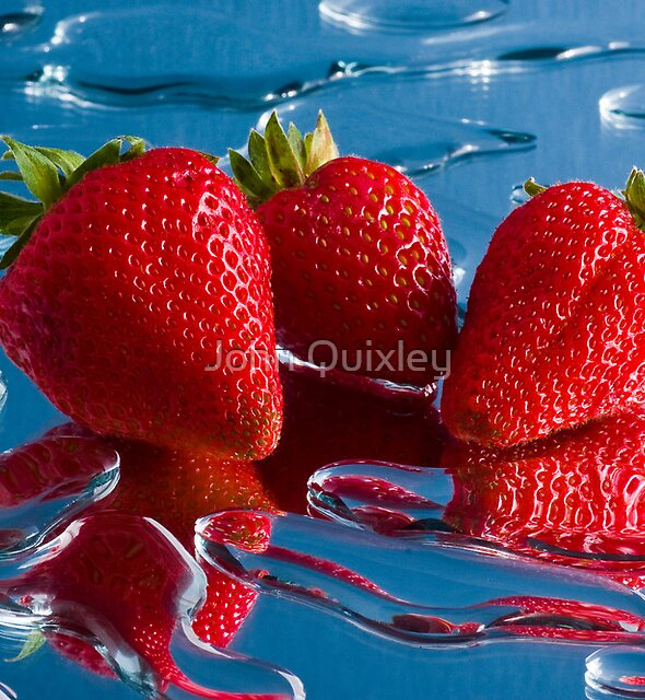 Three Strawberries by John Quixley