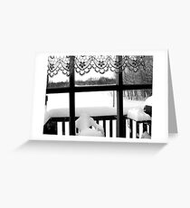 Winter scene through the Window in Northern Ontario, Canada Greeting Card