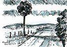 Pen-and-ink landscape by Elizabeth Kendall