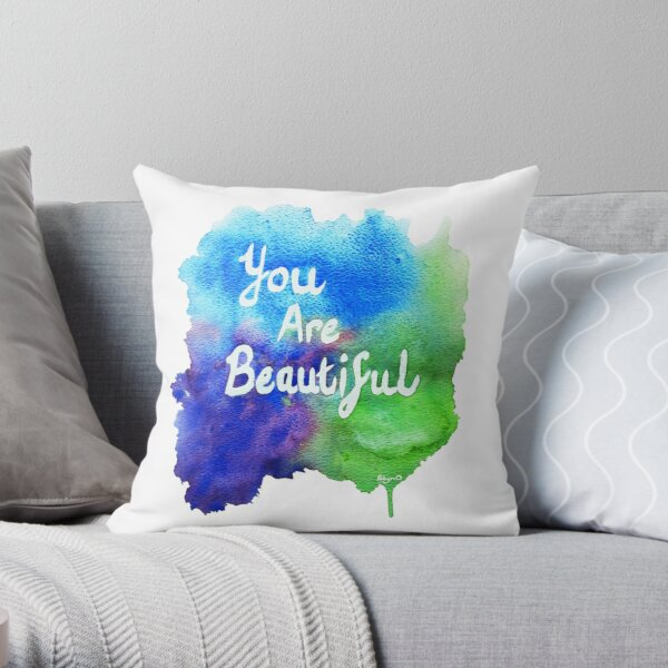 You Are Beautiful Watercolor Splash Throw Pillow