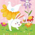 Spring bunny Be Happy by Angela Sbandelli