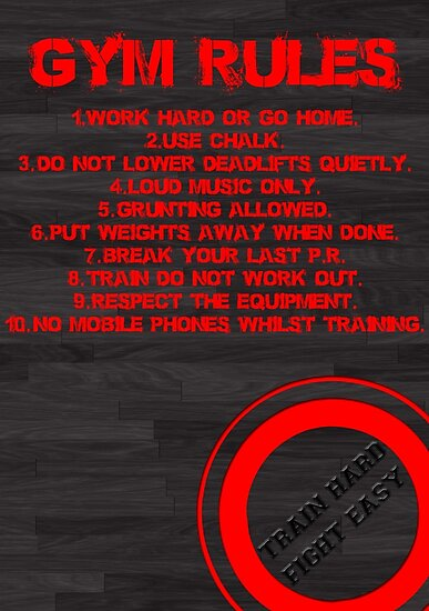 Quot Gym Rules Quot Poster By Starsandguitars Redbubble