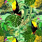 Toucan in Green Amazonia Rainforest Seamless Pattern Design by BluedarkArt