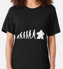 Meeple Evolution Board Game Graphic - Tabletop Gaming Slim Fit T-Shirt