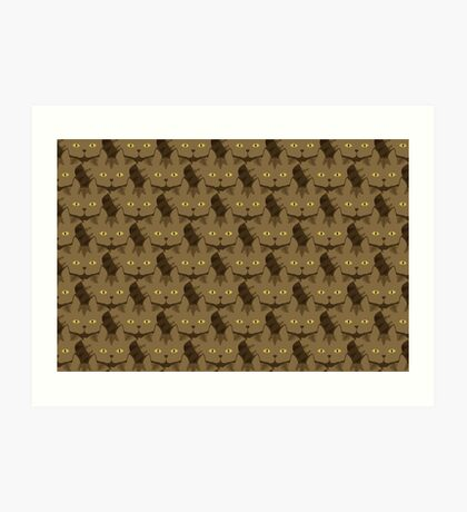 Cocoa Brown Tabby Cat Cattern [Cat Pattern] Art Print