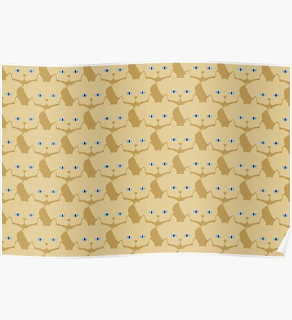 Frappé Brown Cat Cattern [Cat Pattern] Poster