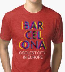 Camiseta de tejido mixto Barcelona Glitch Psychedelic Coolest City in Europe d99900d90c8