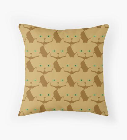 Latté Brown Cat Cattern [Cat Pattern] Throw Pillow