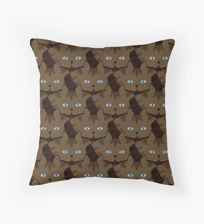 Chai Brown Tabby Cat Cattern [Cat Pattern] Throw Pillow