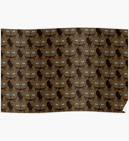 Chai Brown Tabby Cat Cattern [Cat Pattern] Poster