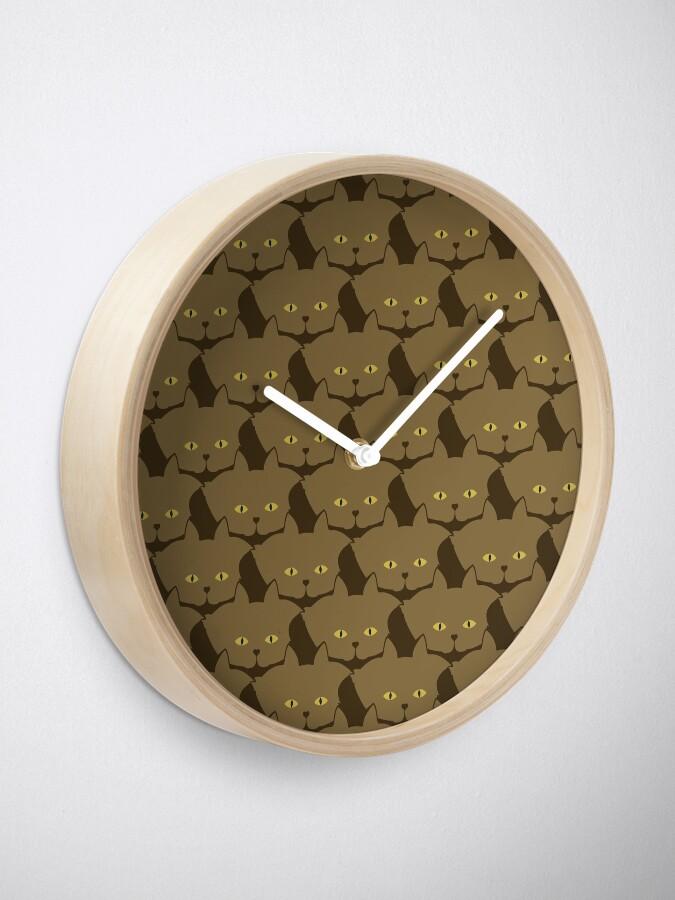 Alternate view of Cocoa Brown Cat Cattern [Cat Pattern] Clock
