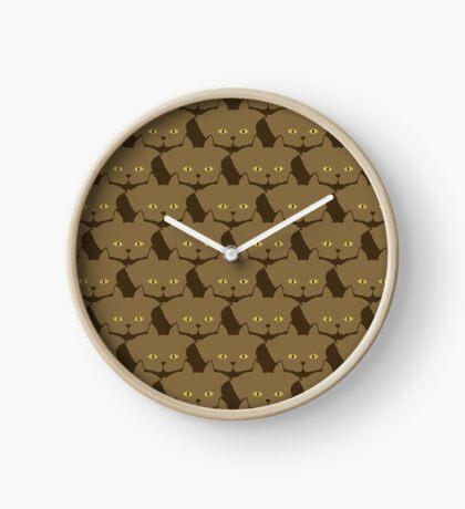 Cocoa Brown Cat Cattern [Cat Pattern] Clock