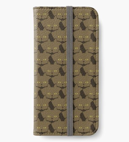 Cocoa Brown Cat Cattern [Cat Pattern] iPhone Wallet