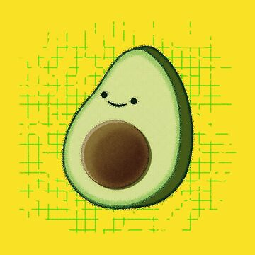 Cute Cartoon Avocado On Distressed Background by Almdrs