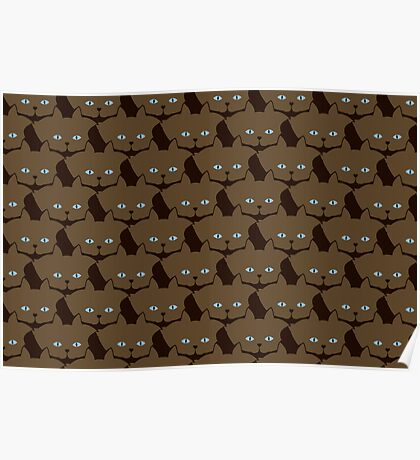 Chai Brown Cat Cattern [Cat Pattern] Poster