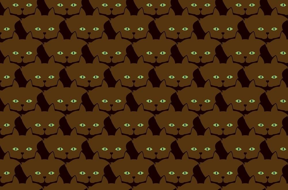 Coffee Brown Cat Cattern [Cat Pattern] by Brent Pruitt