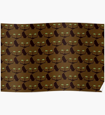 Coffee Brown Cat Cattern [Cat Pattern] Poster