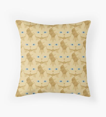 Frappé Brown Tabby Cat Cattern [Cat Pattern] Throw Pillow