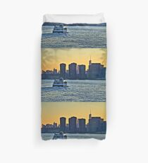 NYC Ferry Sunset Duvet Cover