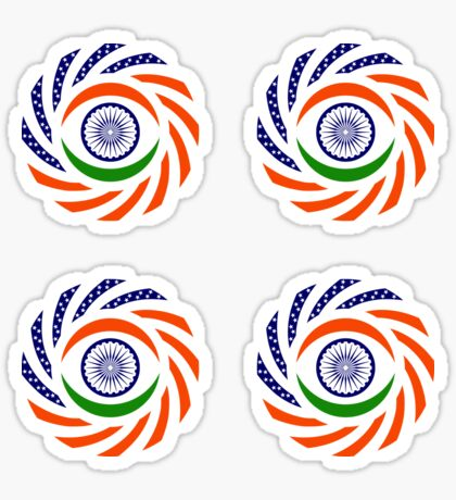 Indian American Multinational Patriot Flag Series Glossy Sticker