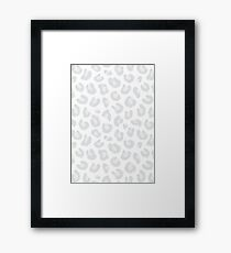 Leopard Print - Silver Gray and White  Framed Print