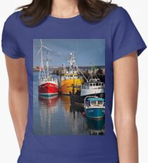 Fishing boats in harbour Women's Fitted T-Shirt