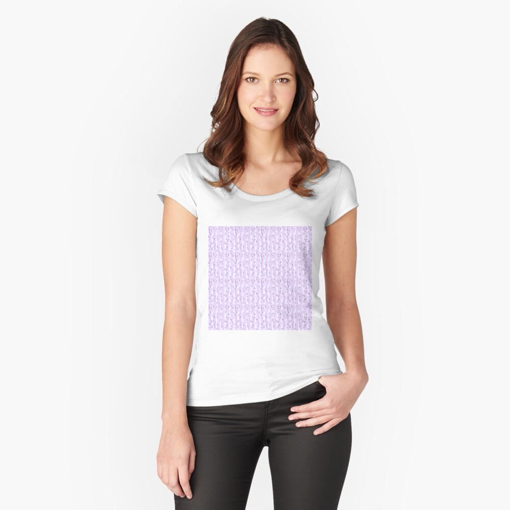 Orchid Lilac Blossoms on Pastel Lilac Streaky Stripes Fitted Scoop T-Shirt