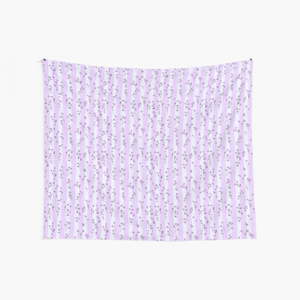 Orchid Lilac Blossoms on Pastel Lilac Streaky Stripes Wall Tapestry
