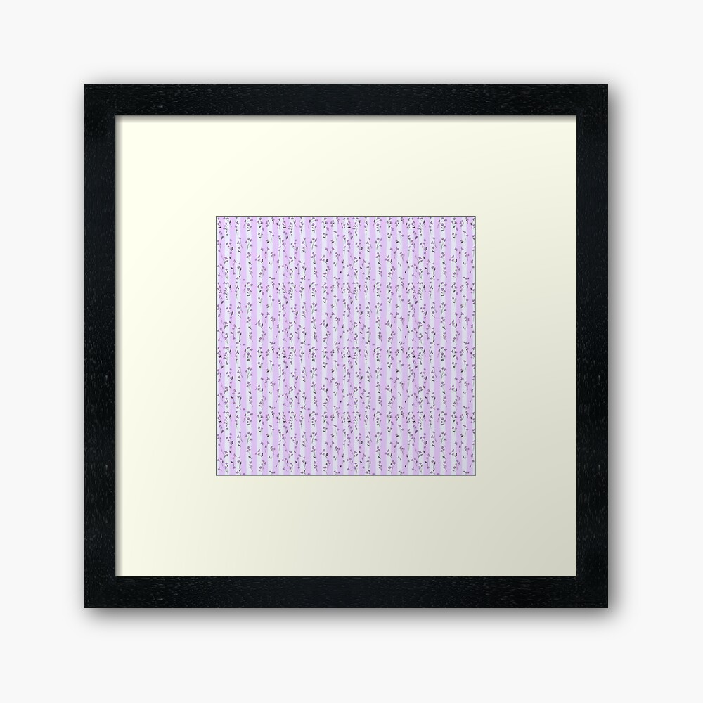 Orchid Lilac Blossoms on Pastel Lilac Streaky Stripes Framed Art Print